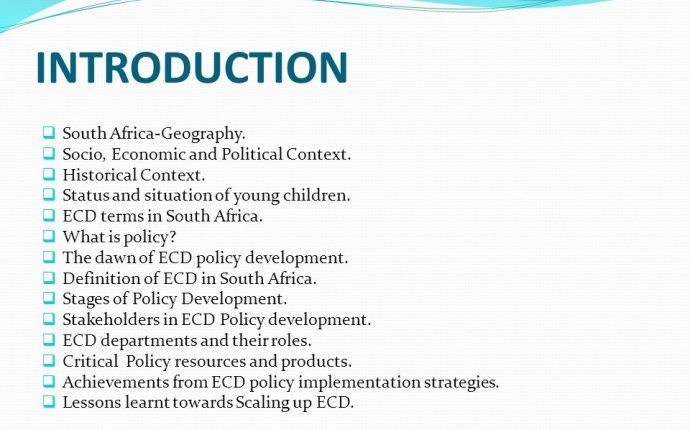 EARLY CHILDHOOD DEVELOPMENT IN SOUTH AFRICA POLICY AND PRACTICE BY