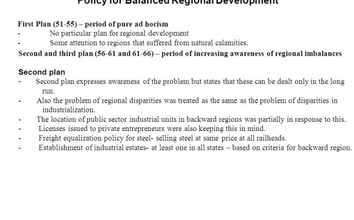 Policy for Balanced Regional Development First Plan (51-55